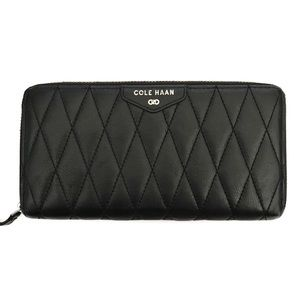 {cole haan} black quilted leather wallet